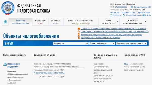 Проверка сведений с помощью личного кабинета на сайте ФНС